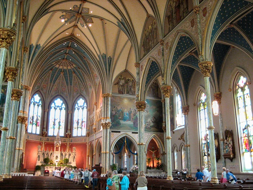 Interior detailing of Savannah's Cathedral of Saint John the Baptist