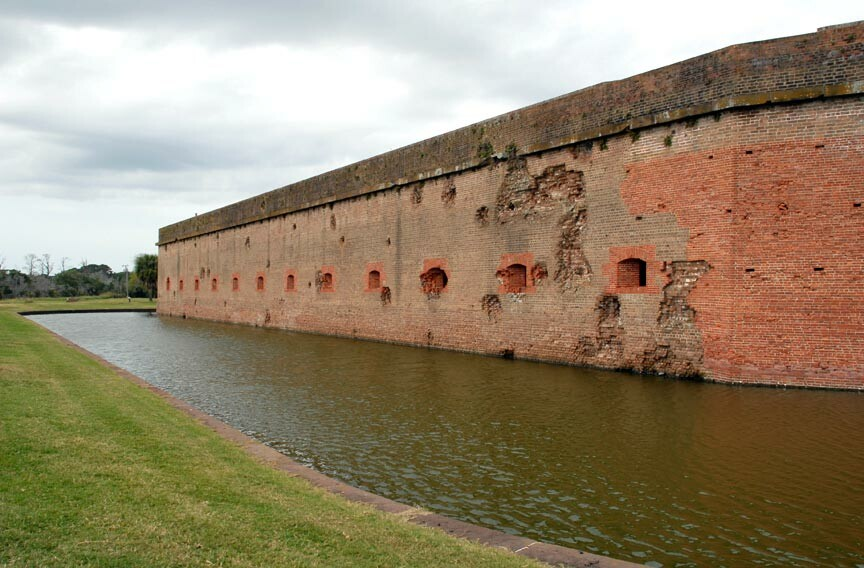 Fort Pulaski National Monument cannon ball scarred walls